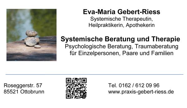 Praxis für Systemische Therapie, Psychotherapie (HPG) und Traumaberatung Eva-Maria Gebert-Riess