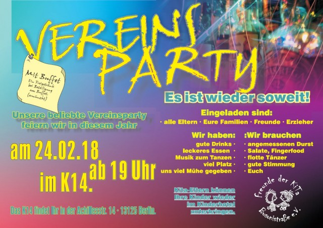 "Vereinsparty Förderverein "" Freunde der Kita Busoni-Str. """