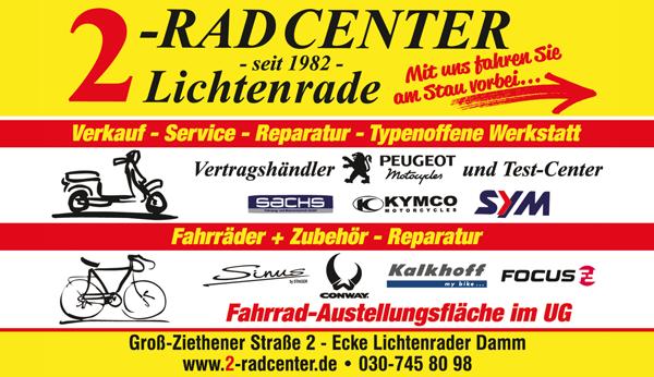 2 Rad Center Berlin Lichtenrade bleibt geöffnet! Öffnungszeiten Mo-Fr 9.00 bis 18.00 und Sa 10.00 - 13.00 Uhr.
