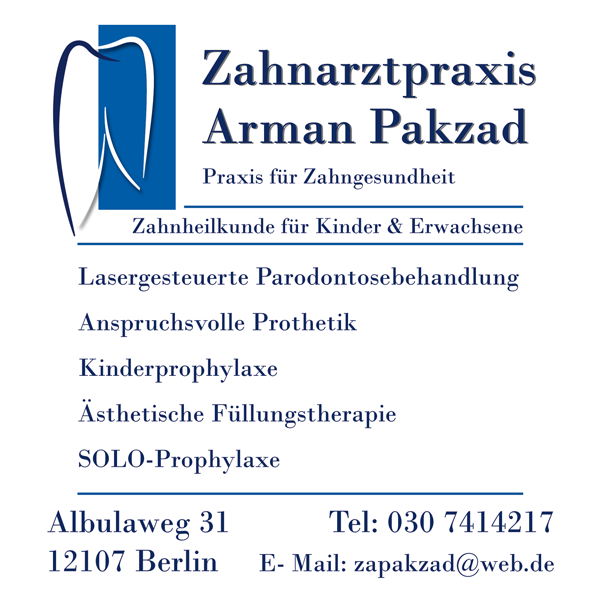 Neue Öffnungszeiten Zahnarztpraxis Pakzard in Mariendorf