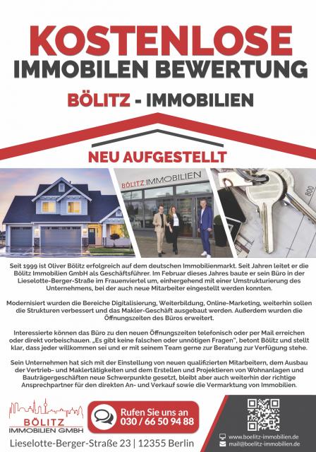 News von Bölitz Immobilien: KOSTENLOSE IMMOBILIEN BEWERTUNG