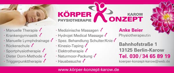 Körper Konzept Physiotherapie Karow Anke Beier
