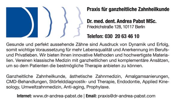 Praxis für ganzheitliche Zahnheilkunde Dr. med. dent. Andrea Pabst MSc